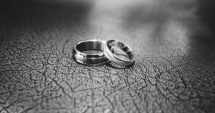 close up of wedding rings on floor