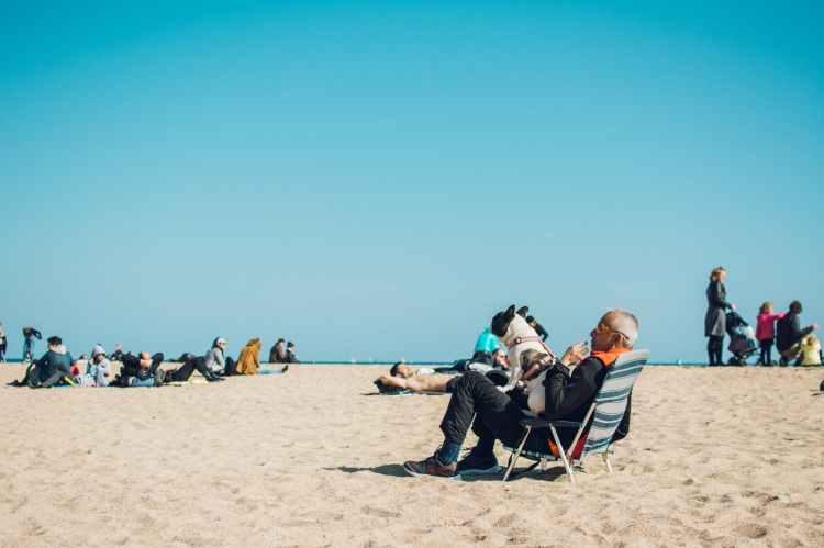 people on seashore