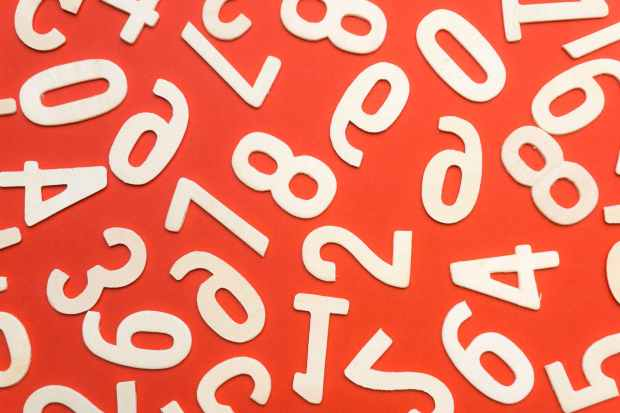 concept numbers red background style